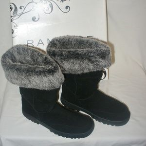 Rampage Astrid Boots Black FOLDABLE Faux Fur Tall